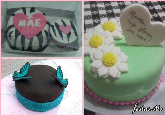 Bolo Dia das Mães mini bolo decorado com pasta americana preta e borboletas azuis