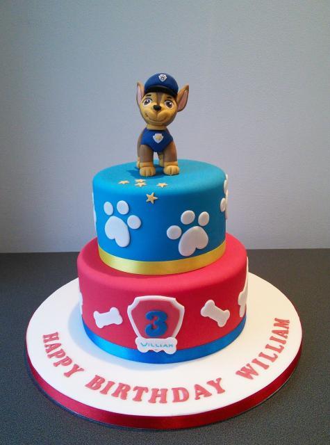 Bolo Patrulha Canina 2 andares com topo de bolo de biscuit