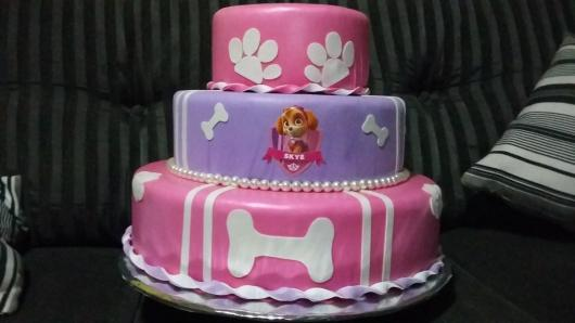Bolo Patrulha Canina Skye rosa e lilás