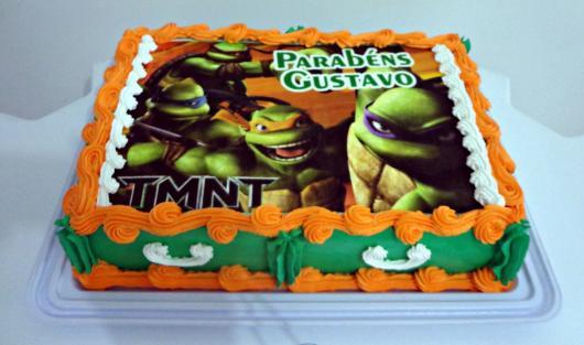 bolo tartarugas ninja com papel de arroz