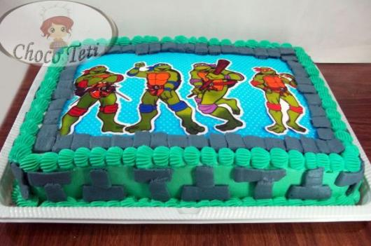 Ideia de bolo tartarugas ninja com papel de arroz
