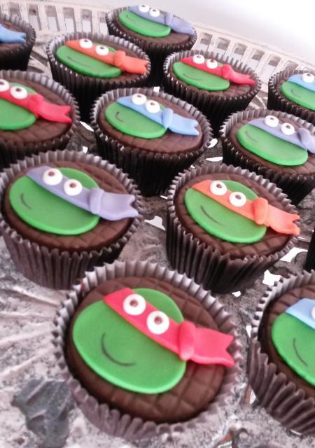 Cupcake com a cara das Tartarugas Ninja