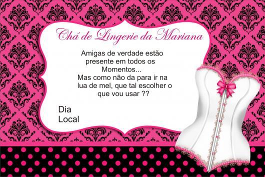 Chá de Lingerie convite rosa e preto