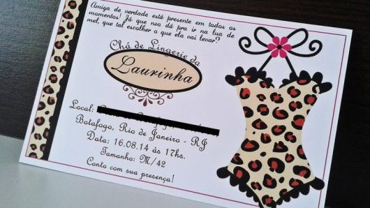 Chá de Lingerie convite com espartilho de oncinha