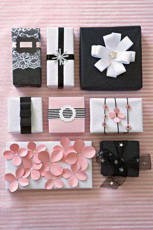 Como Embrulhar Presente com aplique de flores de papel