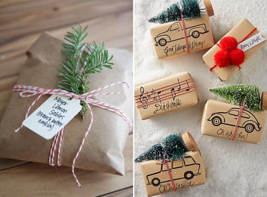 Como Embrulhar Presente de Natal com mini árvore decorativa