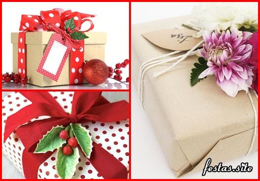 Como Embrulhar Presente com papel craft e flores