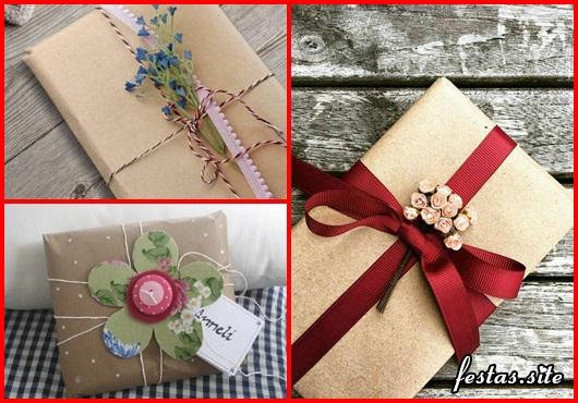 Como Embrulhar Presente com papel craft e fita vermelha