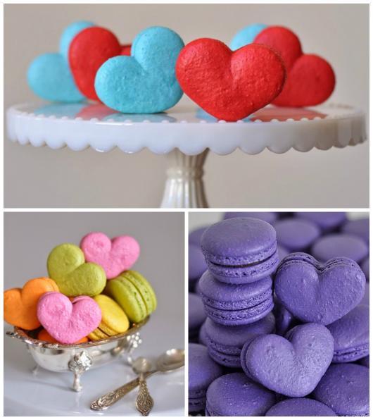 como fazer macarons decorados com formato de coração azul e vermelho