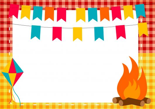 Convite Festa Junina com fogueira e bandeirinhas