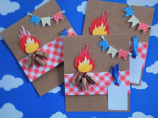 Convite Festa Junina com papel craft e aplique de fogueirinhas