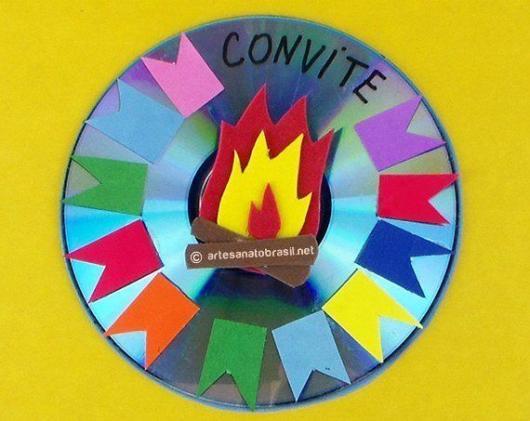 Convite Festa Junina feito com CD