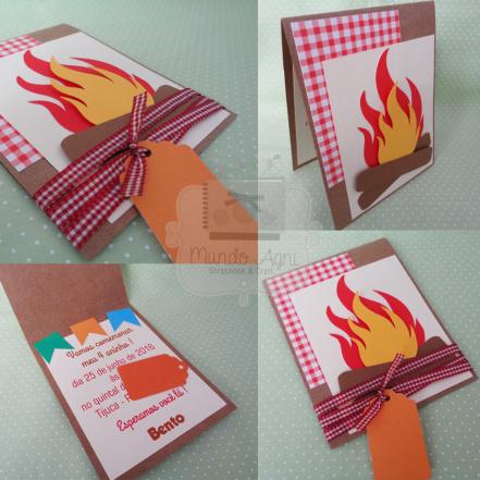 Convite Festa Junina com fogueira e fundo xadrez vermelho e branco