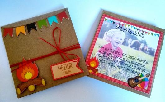 Convite Festa Junina com papel craft e aplique de bandeirinhas