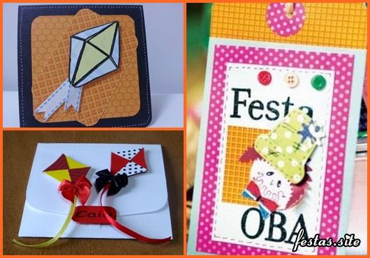 Convite Festa Junina scrap com aplique no formato de balões