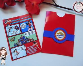 Convite Mulher Maravilha Gibi com envelope vermelho