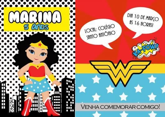 Convite Mulher Maravilha baby com 2 fundos diferentes
