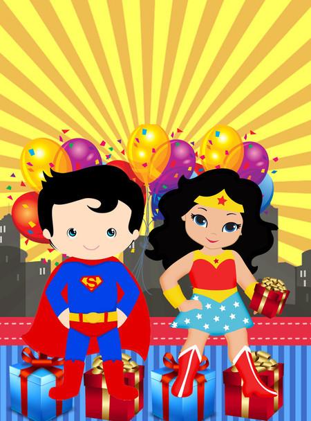 Convite Mulher Maravilha baby com Super Homem