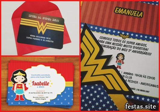 Convite Mulher Maravilha com envelope vermelho