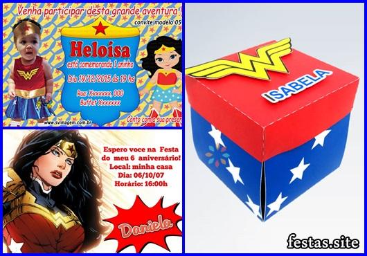 Convite Mulher Maravilha caixa explosiva
