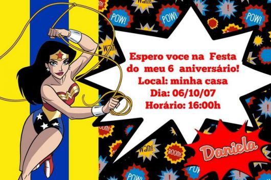 Convite Mulher Maravilha cartão com balão informativo