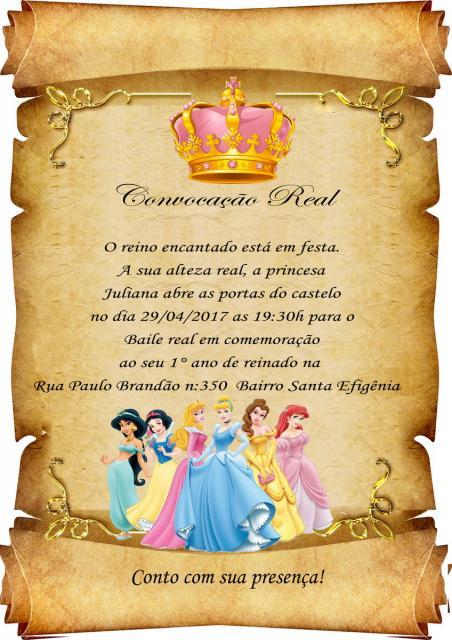 convite princesa pergaminho
