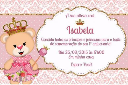 convite princesa da ursinha