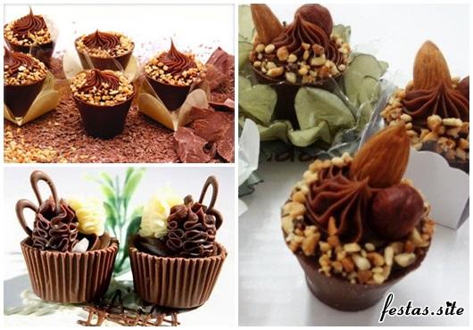 Copinho de Chocolate para casamento nozes moídas