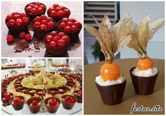 Copinho de Chocolate para casamento com frutas vermelhas