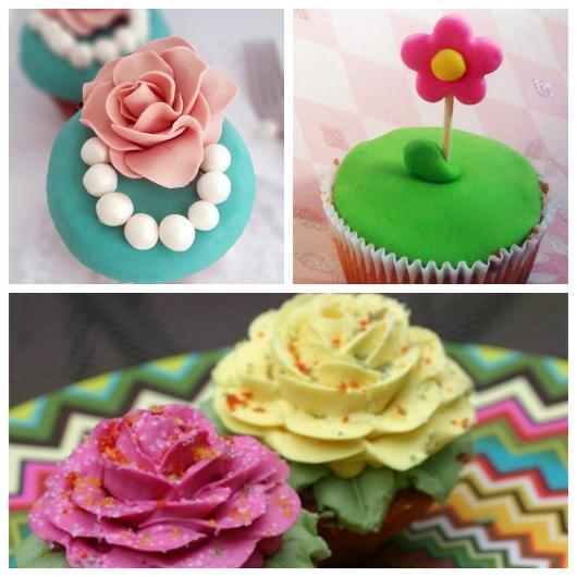 Flores no cupcake