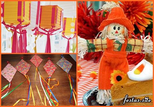 Decoração de Festa Junina Simples com espantalho de tecido