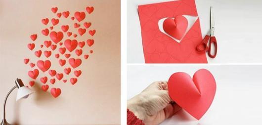 Decoração Dia das Mães com corações na parede