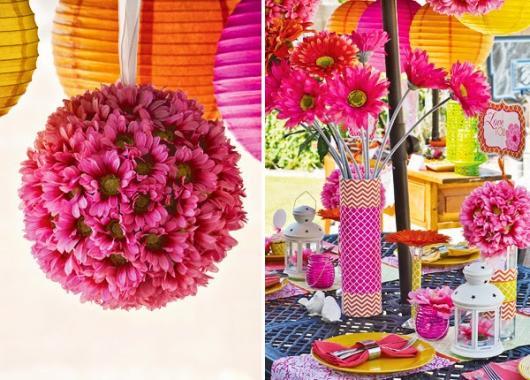 Decoração Dia das Mães para mesa com enfeites rosa