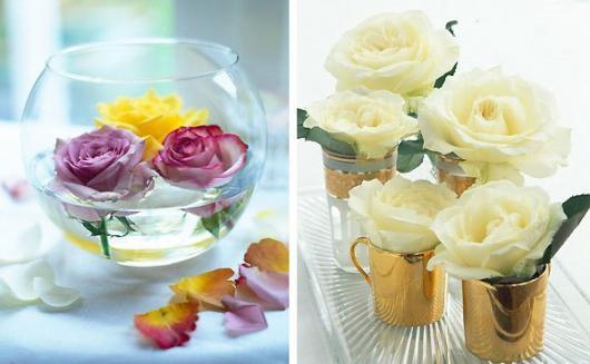 Decoração Dia das Mães para mesa com vasinho de flores flutuantes