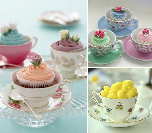 Decoração Dia das Mães para mesa com doces em xícara