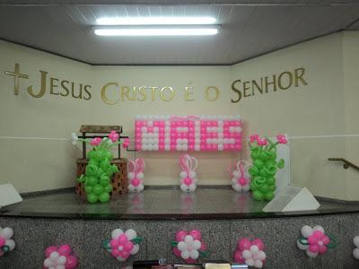 Decoração Dia das Mães para igreja combalões rosa