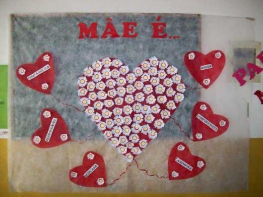 Decoração Dia das Mães para escola com painel de TNT