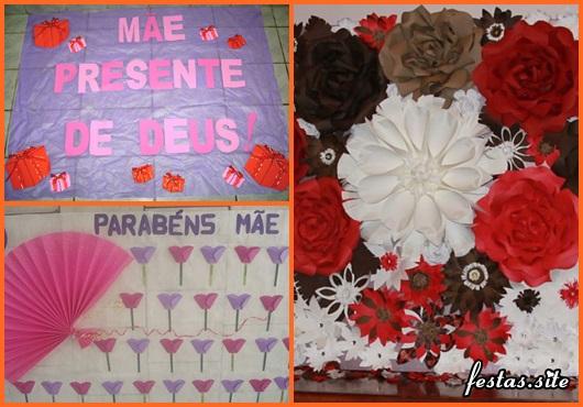 Decoração Dia das Mães com painel personalizado