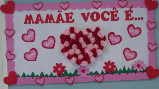 Decoração Dia das Mães com painel com coração de flores de EVA