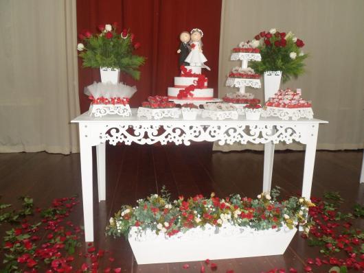 Decoração Provençal para casamento branca e vermelha