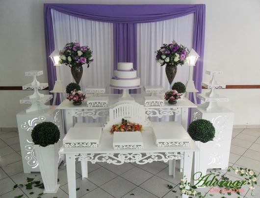 Decoração Provençal para casamento branca e lilás