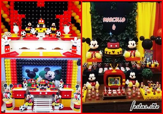 Decoração Provençal tema Mickey com cortina vermelha e amarela