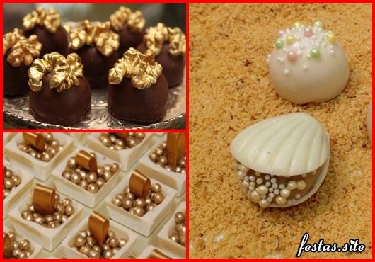 Doces para Casamento beigadeiro dentro de concha de chocolate branco
