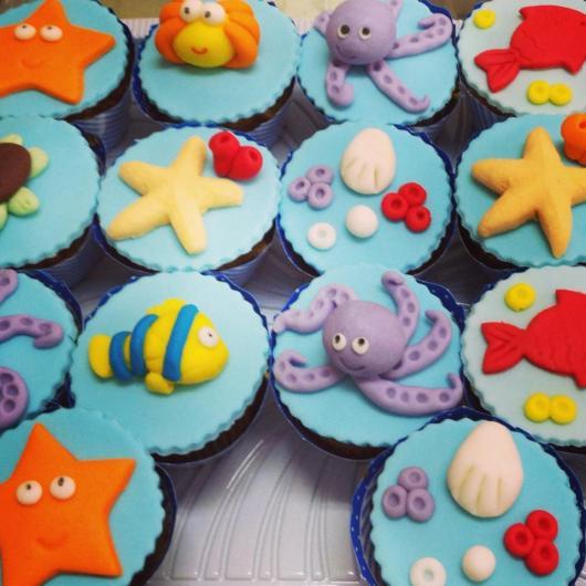 Doces Personalizados Fundo do Mar cupcake com siri