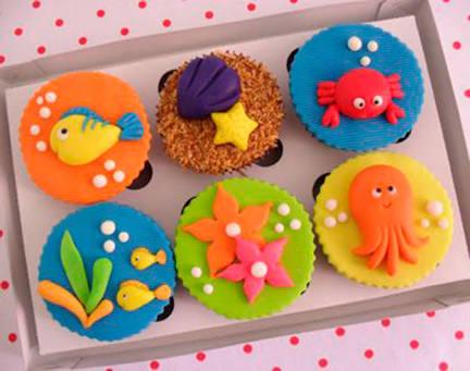Doces Personalizados Fundo do Mar cupcake com concha
