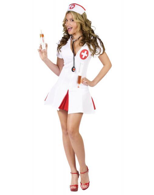 Fantasia de Enfermeira para Carnaval com sandália vermelha