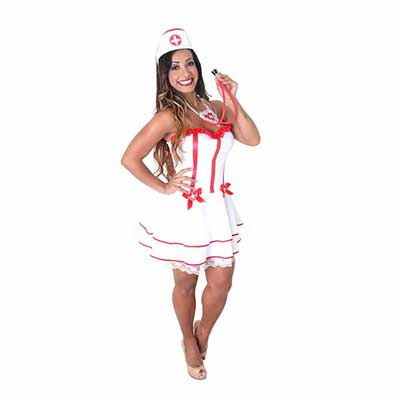 Fantasia de Enfermeira para Carnaval com estetoscópio vermelho