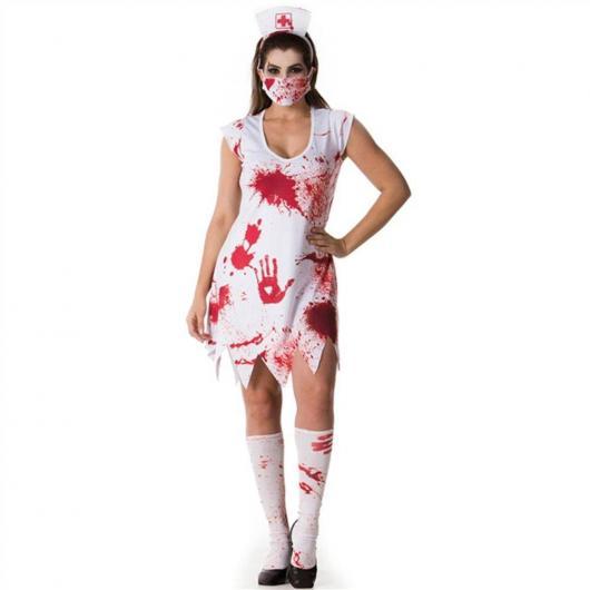Fantasia de Enfermeira para Halloween com marca de sangue e máscara
