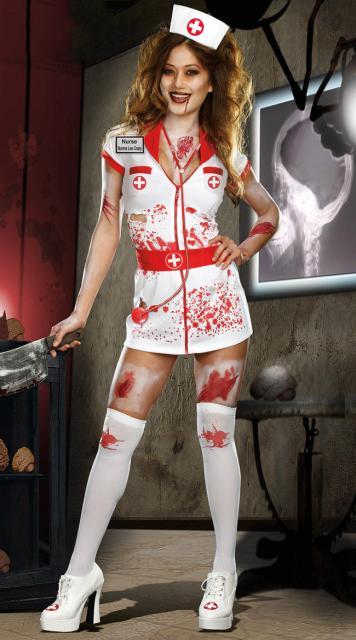 Fantasia de Enfermeira para Halloween com cinto vermelho