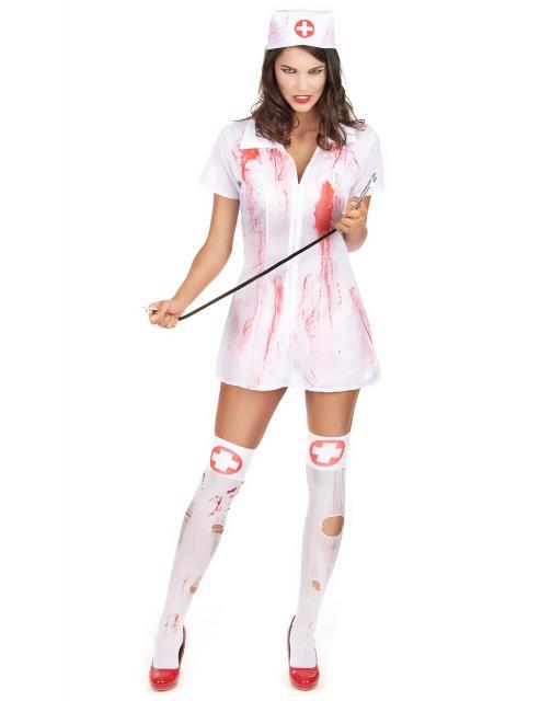Fantasia de Enfermeira para Halloween com meia branca